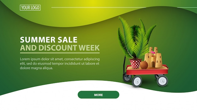 Summer sale and discount week, modern discount web banner for the site
