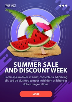 Summer sale and discount week, modern vertical discount banner