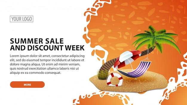 Summer sale and discount week, modern web banner