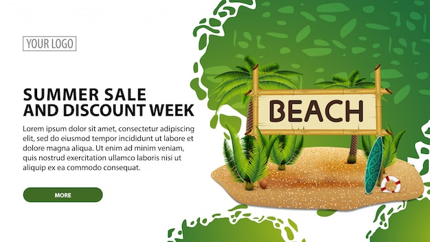 Summer sale and discount week, modern web banner