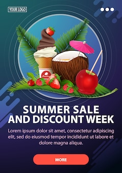 Summer sale and discount week, vertical discount banner with modern design