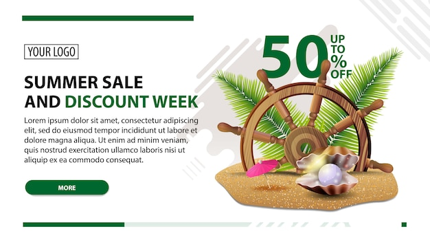 Summer sale and discount week, white web banner in modern style for your website