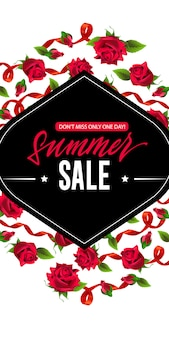 Summer sale, do not miss only one day banner with red ribbons and roses.