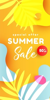 Summer sale editable  banner with fluid liquid elements tropical leaves watermelon slices