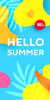 Summer sale editable template banner with fluid liquid elements, tropical leaves, watermelon slices