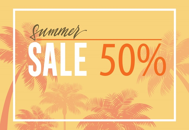 Summer sale, fifty percent banner with palm tree silhouettes on yellow background.