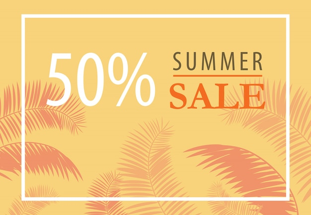 Summer sale fifty percent brochure with palm leaf silhouettes on yellow background.