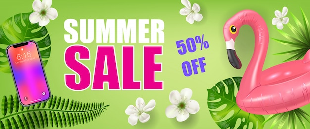 Summer sale fifty percent off banner with palm leaves, smartphone and inflatable flamingo