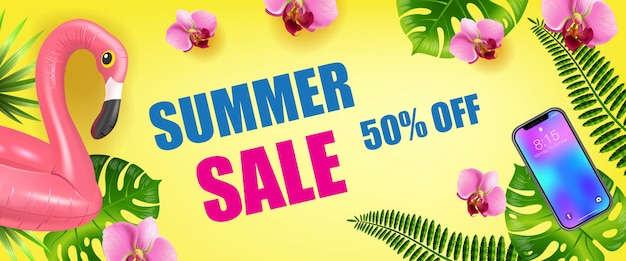 Summer sale, fifty percent off seasonal banner with palm leaves, smartphone and inflatable