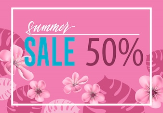 Summer sale, fifty percent pink poster with flowers and leaf shapes.