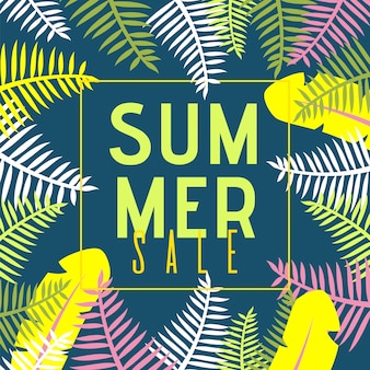 Summer sale flat banner with cartoon exotic jungle plants