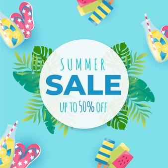Summer sale flat design 50% off