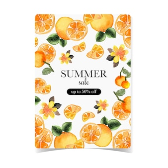 Summer sale flayer with tropical fruits background