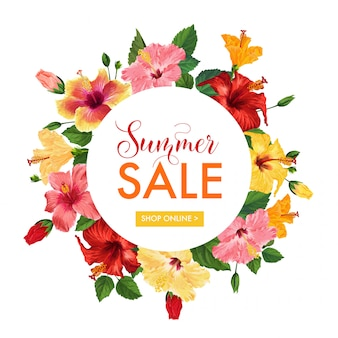 Summer sale floral banner. seasonal discount advertising with red hibiscus flowers.