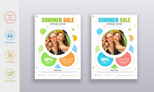 Шаблон дизайна плаката летней распродажи с плоским летним значком на заднем плане