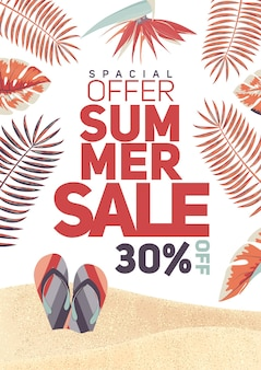 Summer sale flyer and poster design template.