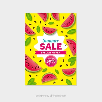 Summer sale flyer in realistic style