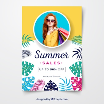 Summer sale flyer template with image and colorful leaves