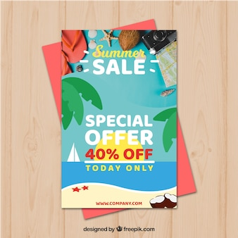 Summer sale flyer template with image of elements