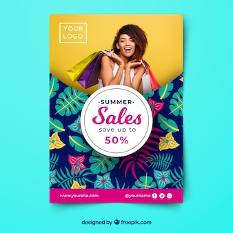 Summer sale flyer template with image and leaves