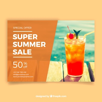 Summer sale flyer template with image of drink