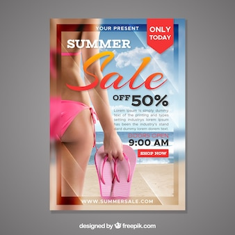 Summer sale flyer template with image of woman
