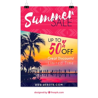 Summer sale flyer template with image at sunset