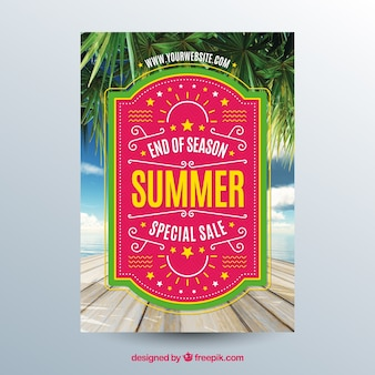 Summer sale flyer template with image of tabletop