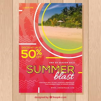 Summer sale flyer template with image of tropical island