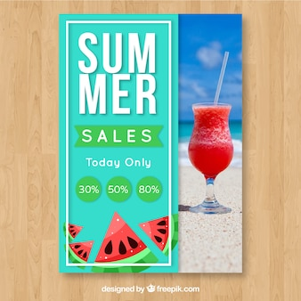 Summer sale flyer template with image with cocktail