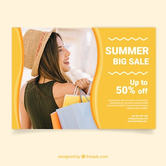Summer sale flyer template with image of woman with bags