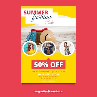 Summer sale flyer template with image