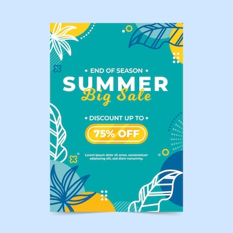 Summer sale flyer template with leaves