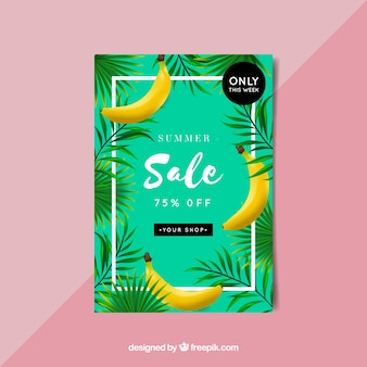 Summer sale flyer with bananas