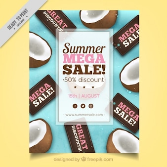 Summer sale flyer with coconuts