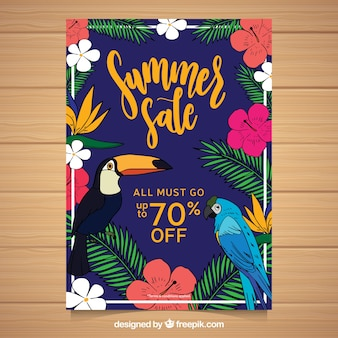 Summer sale flyer with different species of plants