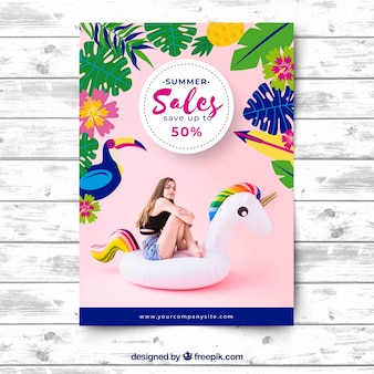 Summer sale flyer with photography