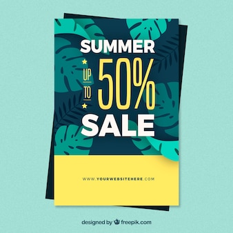 Summer sale flyer with plants