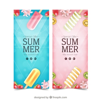 Summer sale flyers with icecreams