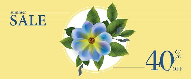 Летняя распродажа сорок процентов с баннера с синим цветком и листьев в круглой рамке