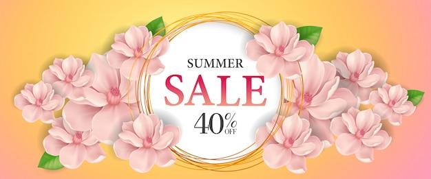 Летняя распродажа сорок процентов от надписей. творческая надпись в круге с розовым цветком