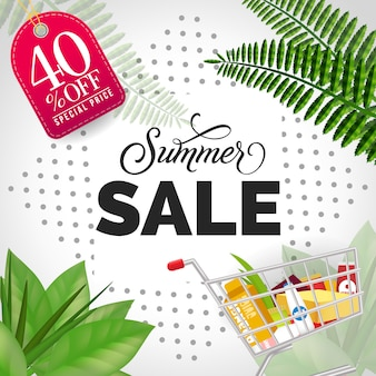 Summer sale forty percent off special price lettering.
