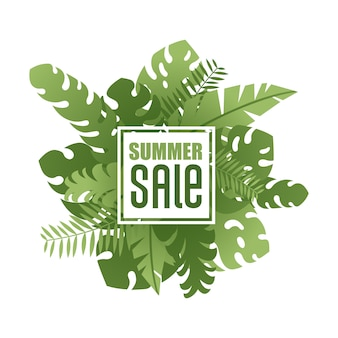 Summer sale in frame on tropical exotic leaves