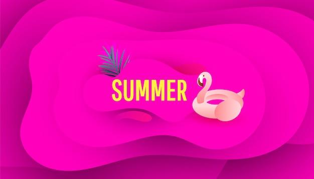 플라밍고와 여름 판매 무료 배너 디자인 배경