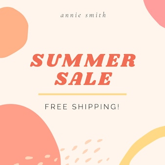 Социальный шаблон летней распродажи с бесплатной доставкой