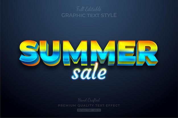 Summer sale gradient editable premium text effect font style