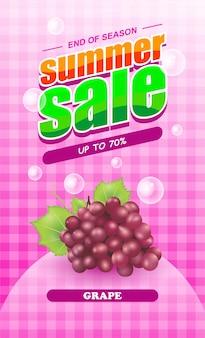 Summer sale grape fruit banner