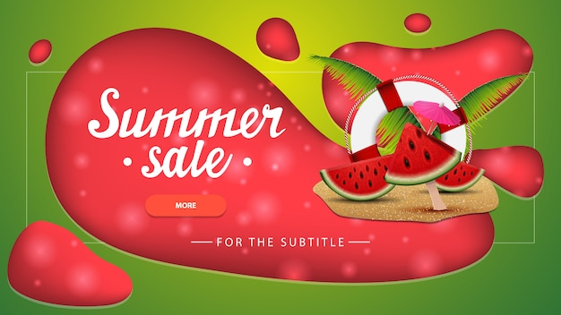 Summer sale, green discount banner with modern design for your website