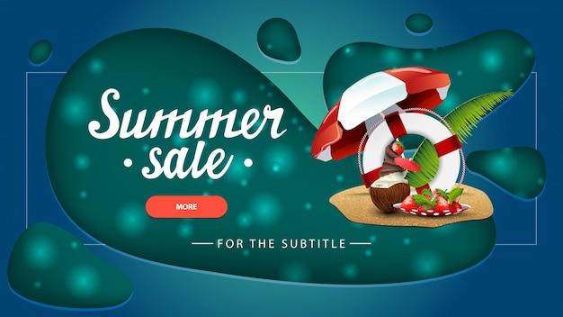 Summer sale, green discount banner with modern design