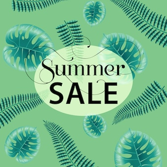 Summer sale, green poster with monstera and fern leaves.